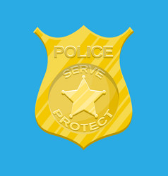 police officer badge gold emblem vector image