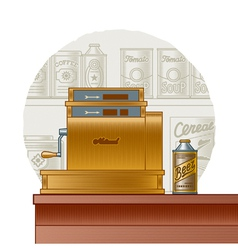 Retro cash register vector image