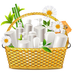 basket with natural cosmetic vector image vector image