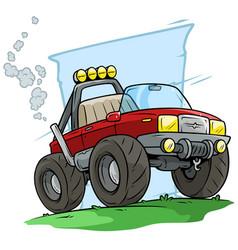 cartoon red off road monster truck vector image