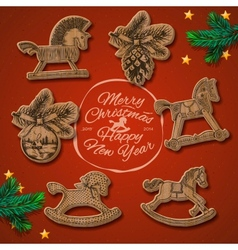 Christmas card with rocking toys horses vector image vector image