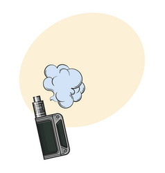 hand drawn vape vaping device with smoke cloud vector image