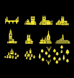 icons of castles and houses vector image
