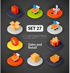 Isometric flat icons set 27 vector image