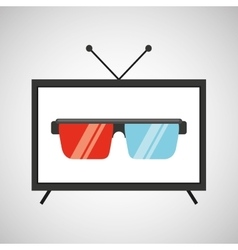screen tv movie glasses 3d vector image vector image