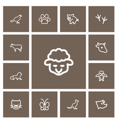 Set of 13 editable zoo outline icons includes vector