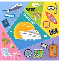 Travel flat icons set vector image vector image