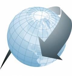 arrow globe blue vector image vector image