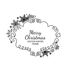 black and white snowflake frame xmas framework vector image vector image
