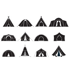 camping tents icons set vector image vector image