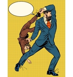 Giant businessman throws competitor vector image vector image
