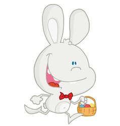 Happy White Rabbit Running With Easter Eggs vector image