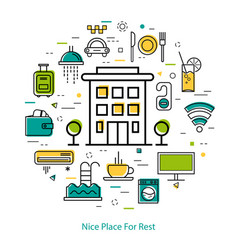 Nice place for rest - line concept vector