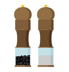 pepper grinder and salt grinder in flat design vector image