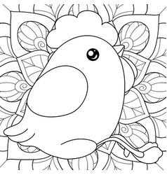 Adult coloring bookpage a kawaii chicken on the vector