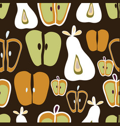 apple and pears white orange and green on brown vector image