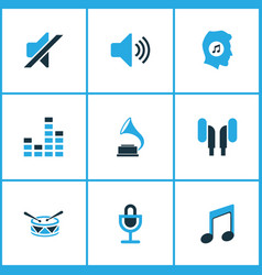 Audio colored icons set collection of mixer drum vector