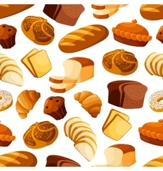 Bakery bread and pastry seamless pattern vector