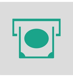 Banknote sliding from atm slot icon vector