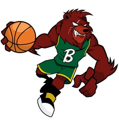 Basket Ball Mascot Red Bear vector