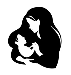 Beautiful mother silhouette with baliner logo vector