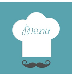 Big chef hat with word Menu inside and mustache vector