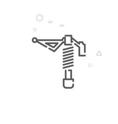 Bike rear suspension shock absorber line icon vector