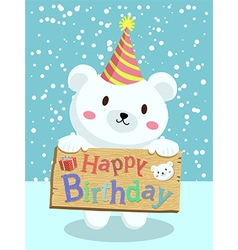 Birthday Polar Bear Cartoon vector