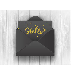 black opened envelope with hello lettering on vector image