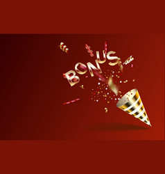 Bonus red and gold party popper with exploding vector