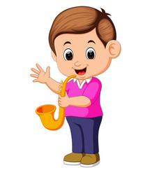 Boy plays saxophone vector