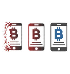 Broken pixel halftone baht mobile payment icon vector