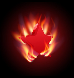 burning red star vector image