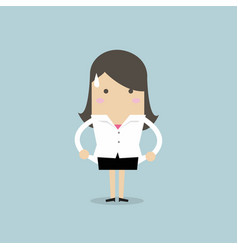 Businesswoman has no money totally broke vector
