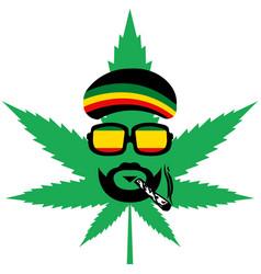 Cannabis or marijuana green leaf - jamaican vector