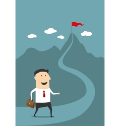 Cartoon businessman moving to the top of success vector image