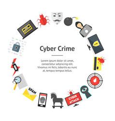 Cartoon cyber crime security banner card circle vector