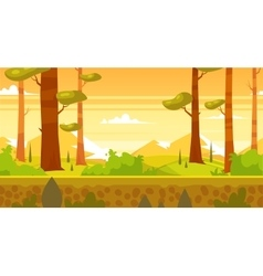 Cartoon nature seamless landscape with forest vector image