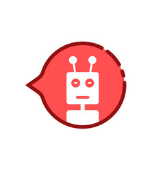 Cartoon red speech bubble with chat bot vector