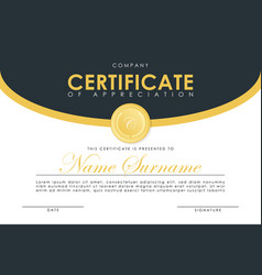Certificate template in elegant dark blue colors vector