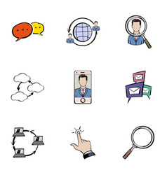 Chating icons set cartoon style vector