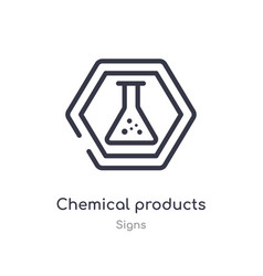 Chemical products outline icon isolated line from vector