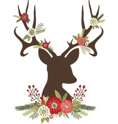 Christmas Deer Antlers with Flowers vector