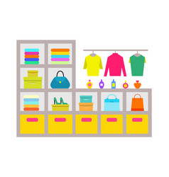 clothing store shelves poster vector image