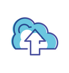cloud computing with arrow icon vector image
