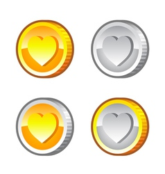 Coins with Heart vector