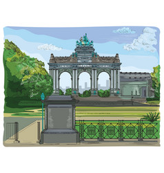 Colorful triumphal arch in the park of the vector