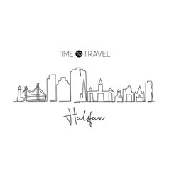 continuous one line drawing halifax city skyline vector image