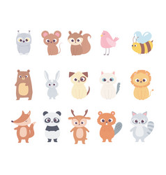 Cute cartoon animals little characters owl mouse vector