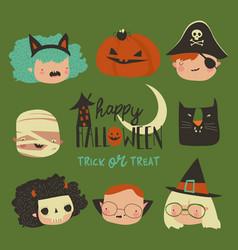 cute cartoon happy kids in halloween costumes vector image